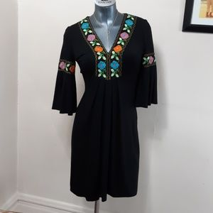 Cache NWOT colorful embroidered on black BOHO